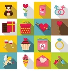 Saint Valentine icons set flat style vector image