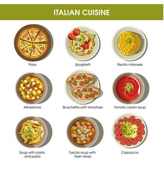 italian cuisine flat colorful poster with vector image