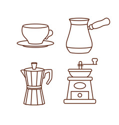 Coffee making and drinking equipment icons vector