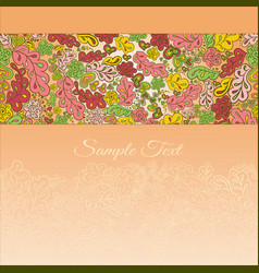 floral doodle card in cream tones vector image
