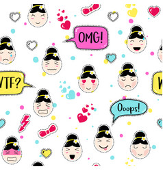 Asian style seamless pattern with anime emoticons vector