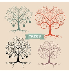 Vintage trees set vector