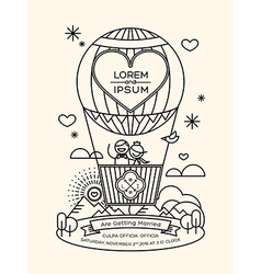 Modern wedding invitation with line art style vector image