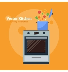 Stove with a pan vector