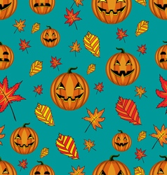 Halloween seamless pattern with pumpkins and vector