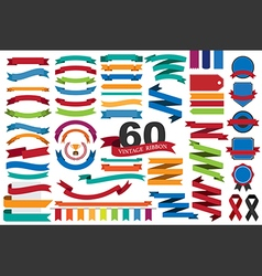 60 retro ribbons and labels eps10 vector
