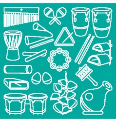 Percussion instruments on blue vector