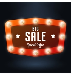 Red banner with text big sale billboard in retro vector