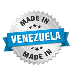 Made in venezuela silver badge with blue ribbon vector