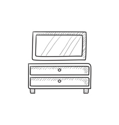 Chest of drawers with mirror sketch icon vector