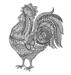 Adult and children Coloring book cock Farm vector image
