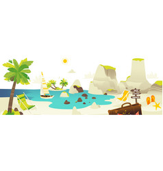 Beach scene banner with summer vacation elements vector