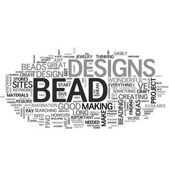 Bead designs text word cloud concept vector