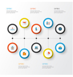 Business flat icons set collection of pie bar vector