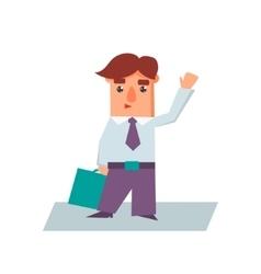 Business man raising hand cartoon character vector