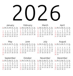 Calendar 2026 sunday vector