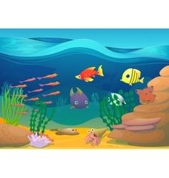 Cartoon fish with seaweed vector image vector image