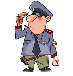 Cartoon man in a police uniform salutes vector