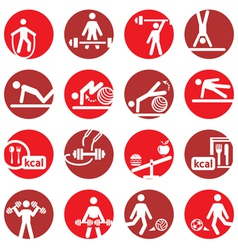 color fitness and sport icons vector image vector image