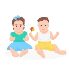 Cute funny baby boy and girl sitting together vector