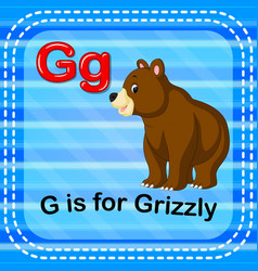 flashcard letter g is for grizzly vector image