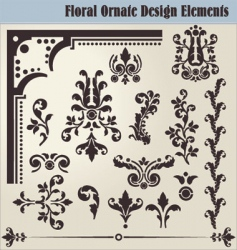floral ornate elements vector image vector image