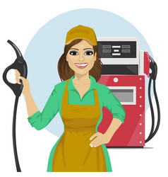 Gas station female worker holding petrol pump vector