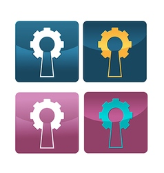 Gear Key Hold Symbol Icon vector image