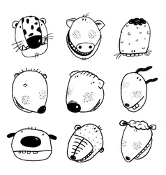 Hand drawn doodle outline cartoon animal heads vector