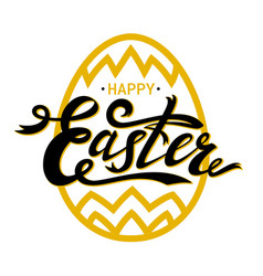 happy easter lettering with gold paschal egg on vector image vector image