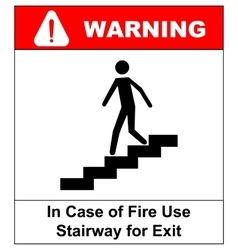 In case of fire use stairway for exit sign vector
