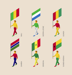 isometric people with flags of african countries vector image
