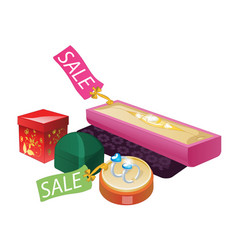 Jewelery boxes with sale label vector