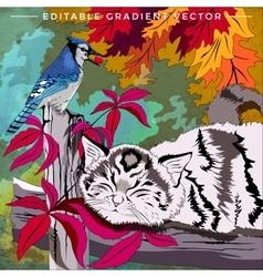 Kitten and bird vector