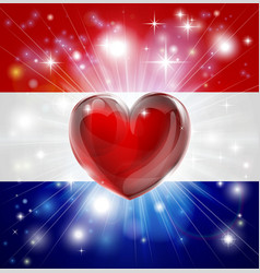 Love netherlands flag heart background vector