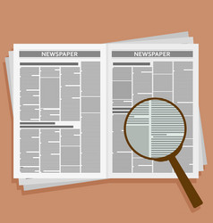 open newspaper with loupe vector image