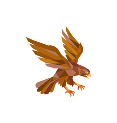 Peregrine falcon swooping low polygon vector