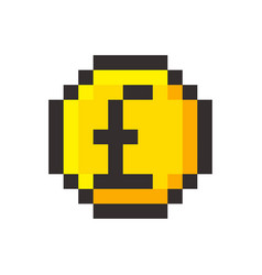 pixel art pound golden coin retro video game vector image