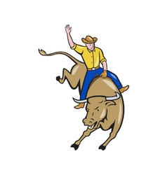 Rodeo Cowboy Bull Riding Cartoon vector image