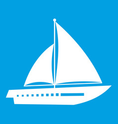 Sailing yacht icon white vector