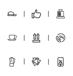 set of 9 editable shopping icons includes symbols vector image