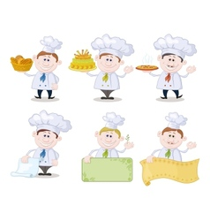 Set of cartoon cooks chefs vector image