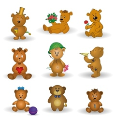 Set toy teddy bears vector image vector image