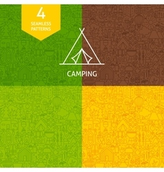 Thin Line Camping Pattern Set vector image