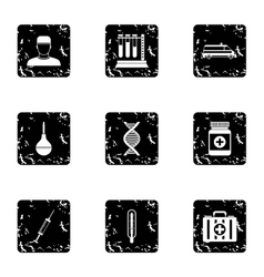 Treatment icons set grunge style vector