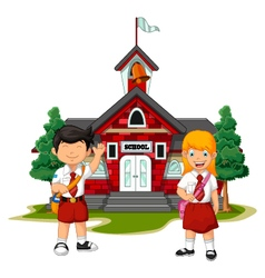two student with school building background vector image vector image