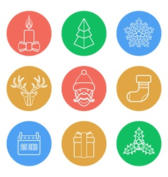 various christmas color back outline icons set vector image vector image