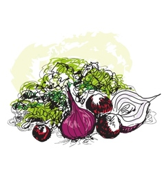 Vegetable still life vector