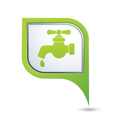 Water tap icon on green map pointer vector