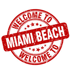 Welcome to miami beach red round vintage stamp vector